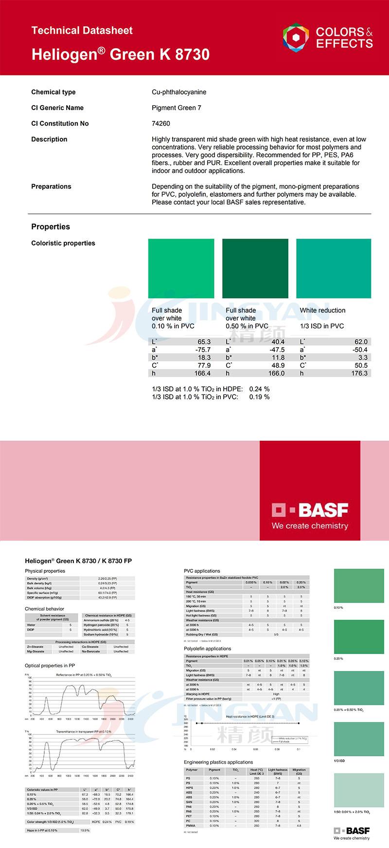 永利棋牌最新版下载K8730酞菁绿有机颜料 (P.G7)氯代酮酞菁绿 BASF Heliogen Green K8730
