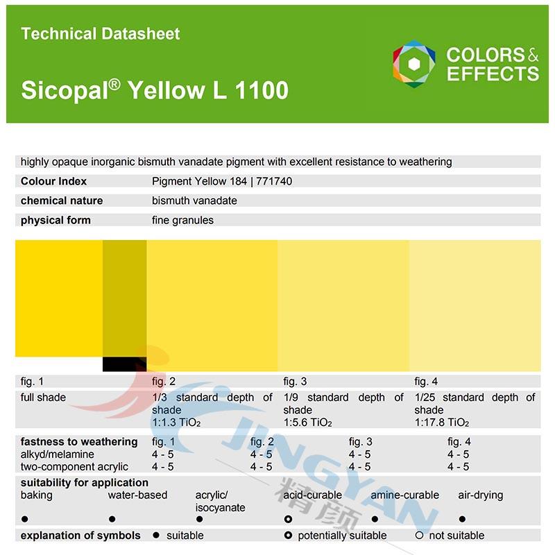 BASF Sicopal Yellow L1100永利棋牌最新版下载颜料 永利棋牌最新版下载色丽宝L1100黄无机颜料(P.Y.184)