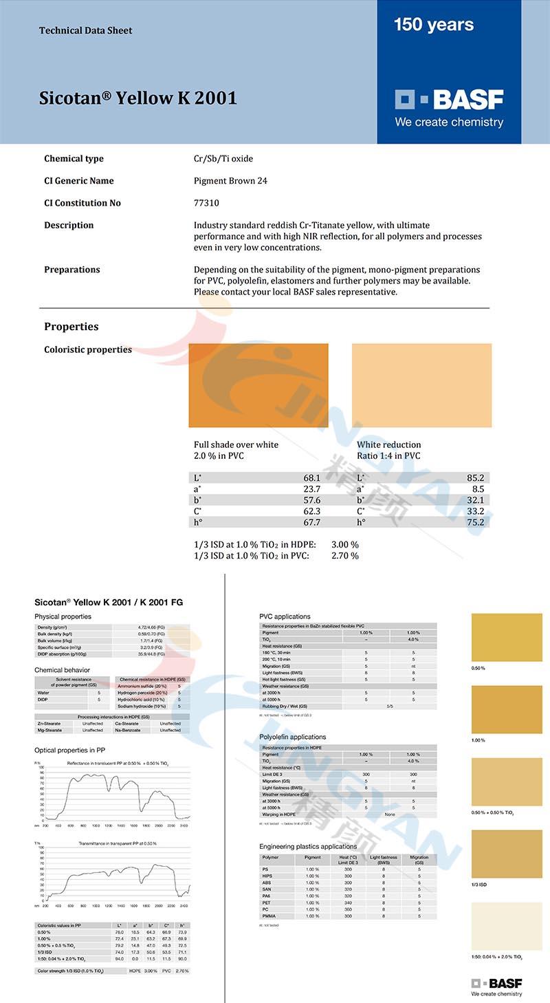 BASF Sicotan  Yellow K2001(P.Br.24)永利棋牌最新版下载颜料黄K2001金红石型铬镍钛无机颜料