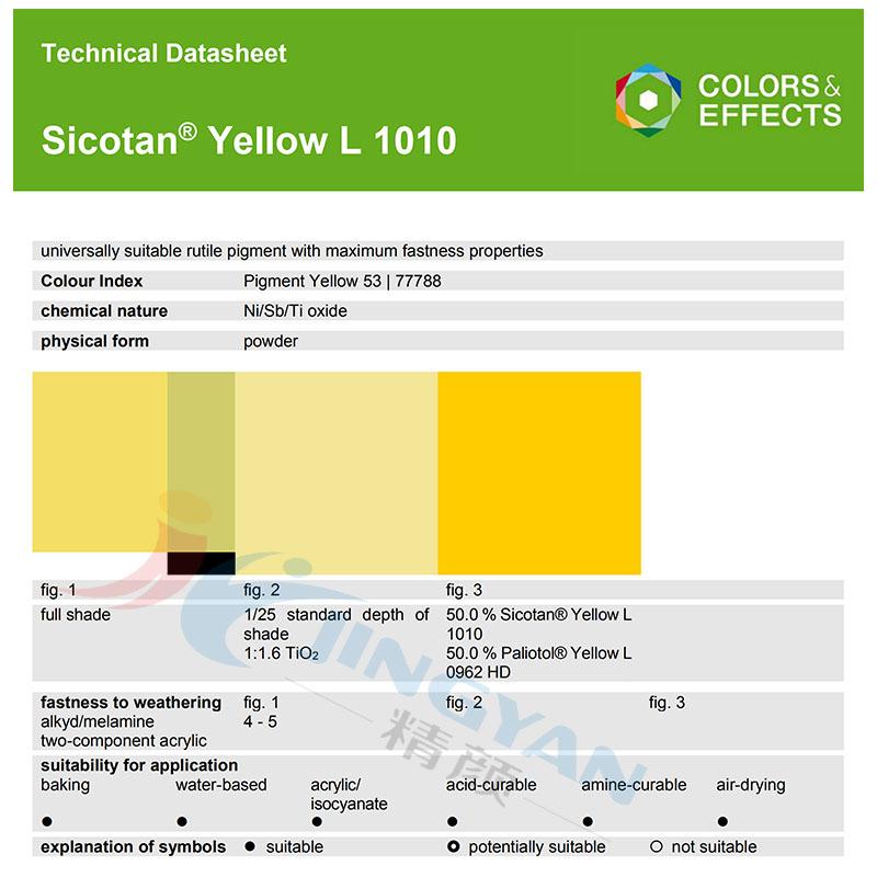 BASF Sicotan Yellow L1010(P.Y.53) 永利棋牌最新版下载颜料L1010黄 金红石型铬镍钛无机颜料
